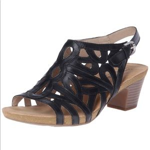 Josef Seibel Black Leather Ruth 03 Sandals